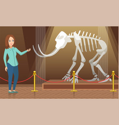 Teacher showing mammoth skeleton in museum vector
