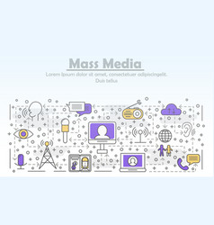 thin line mass media poster banner template vector image