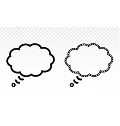 Thought bubble thinking cloud line art icon vector