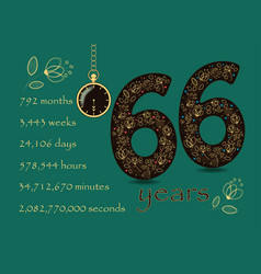 time counting card number 66 and pocket watch vector image
