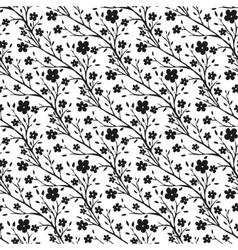 Tiny flowers pattern monochrome seamless vector