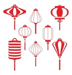 Traditional chinese lanterns line set in a flat vector
