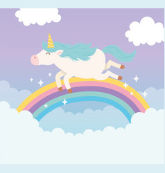unicorn flying rainbow clouds magical fantasy vector image