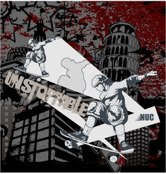 Urban background with skater vector