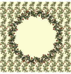 Vintage doodle Christmas background with berries vector