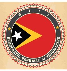Vintage label cards east timor flag vector