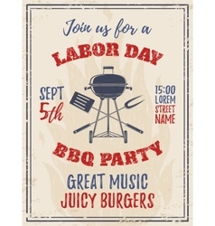 Vintage Labor Day BBQ party background vector image