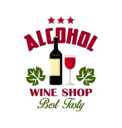 Wine shop sign of bottle and glass icons vector image