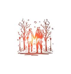 winter park couple walking love concept vector image