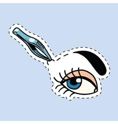 Woman tweezing her eyebrows vector