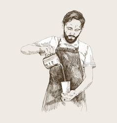 young barista man in pencil vector image