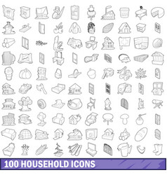 100 household icons set outline style vector image