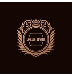 Calligraphic luxury crown logo emblem elegant vector