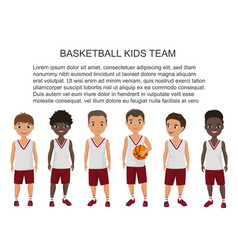 cartoon school basketball kids team in vector image