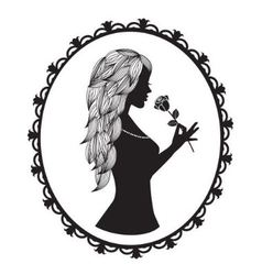 female silhouette with long hair holds a rose vector image vector image