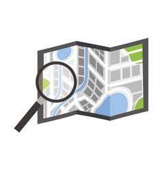 folded map navigation with magnifier search icon vector image