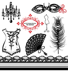 Set of elements for women vector image vector image