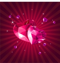 valentine card with crystal hearts vector image vector image