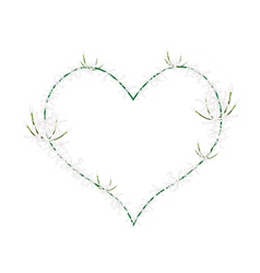 White Ixora Flowers in Heart Shape Frame vector image vector image