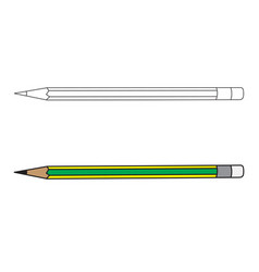 wood pencil and outline vector image
