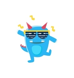 Blue Monster With Horns And Spiky Tail Dancing In vector image vector image