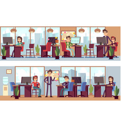 business employees coworkers in modern office vector image vector image