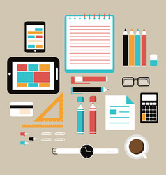 flat design style office equipment working vector image