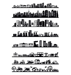 houses and city icons vector image vector image