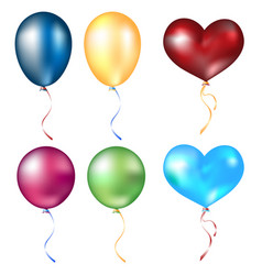 realistic different balloons set vector image vector image