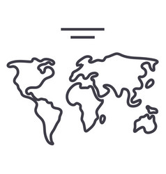 world map line icon sign o vector image vector image