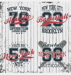 athletic vintage t-shirt graphic designs set of vector image vector image