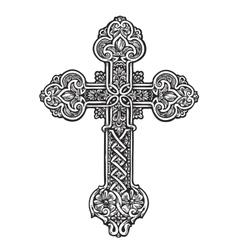Beautiful ornate cross sketch vector
