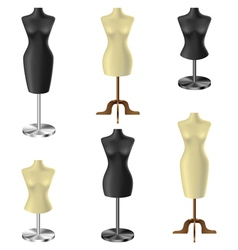 Black and white mannequin set vector image