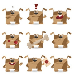 cartoon dog set vector image vector image