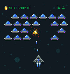 retro arcade game screen with pixel invaders and vector image