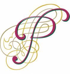 script letter p vector image vector image