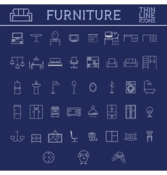 Set of furniture outline icons Thin line design vector image vector image