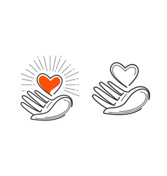 charity life love health logo heart in hand vector image vector image