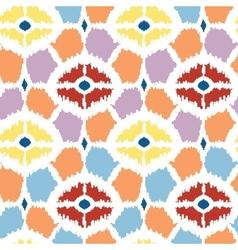 Colorful diamonds ikat geometric seamless pattern vector