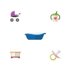 Flat infant set of stroller nipple playground vector