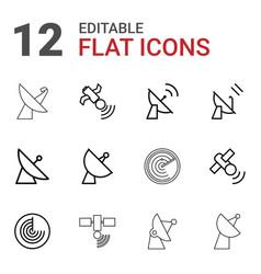 12 radar icons vector image