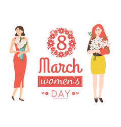 8 march greeting card pink lettering women vector image