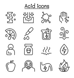 Acid icon set in thin line style vector