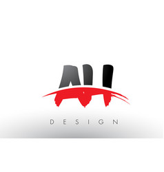 ah a h brush logo letters with red and black vector image
