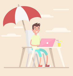 an employee in the summer works under an umbrella vector image