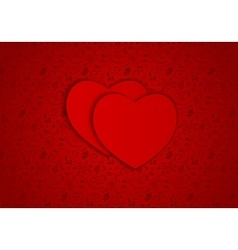 Background red hearts vector