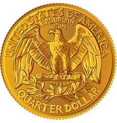 Bald eagle washington quarter 25 cent gold coin vector