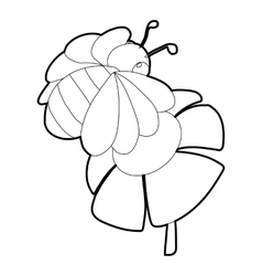 Bee on flower icon isometric 3d style vector image