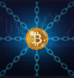 bitcoin golden coin with chains vector image