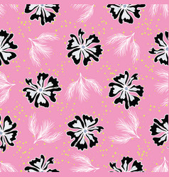 black white graphic large scale flower blooms vector image
